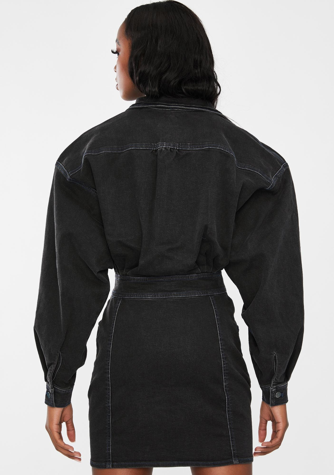 Free People Black Bo Denim Dress