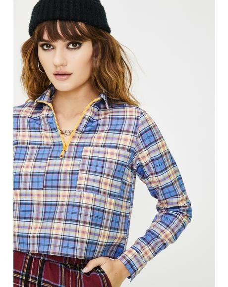Cropped Checkered Zip Up Top