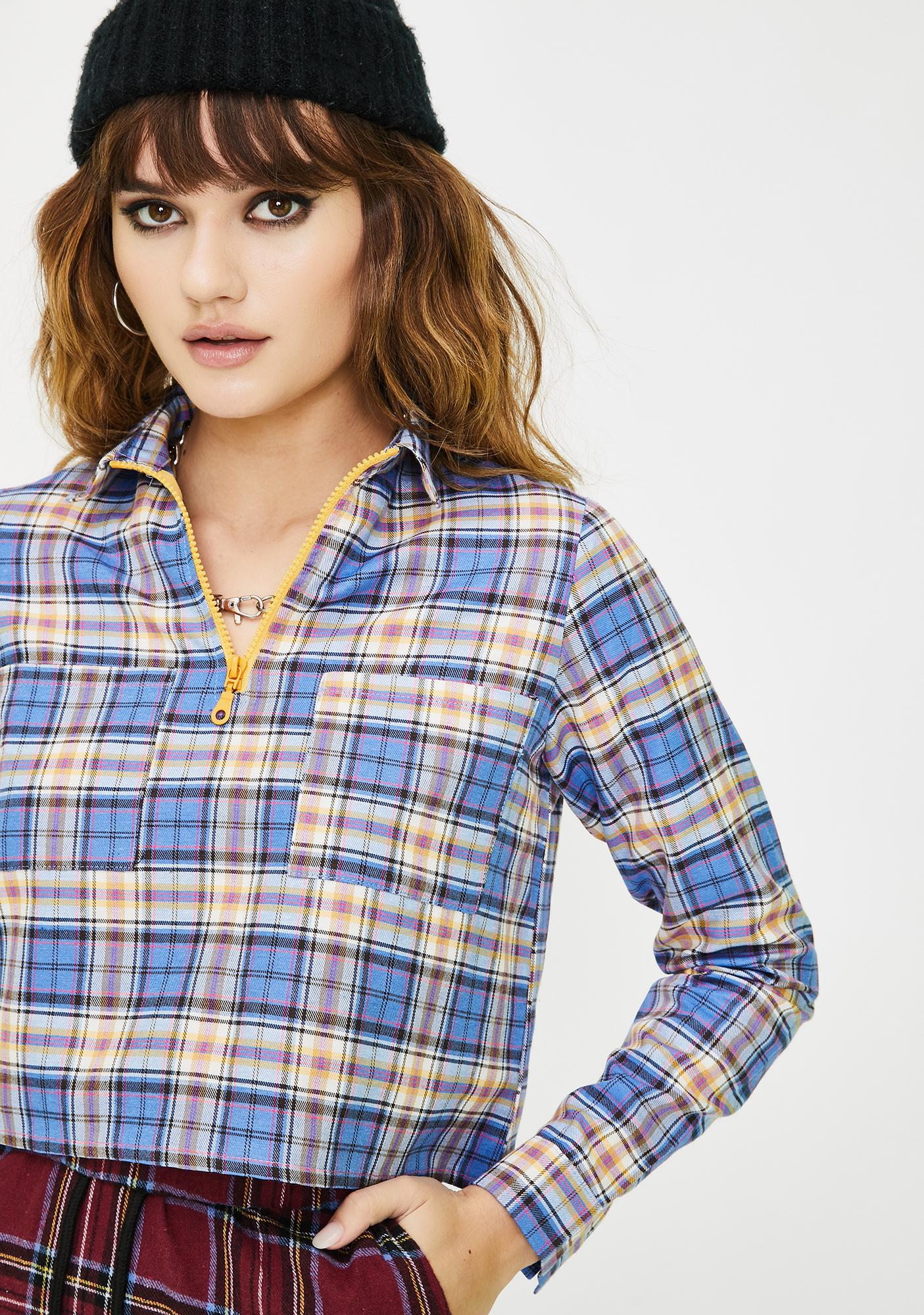 Daisy Street Cropped Checkered Zip Up Top