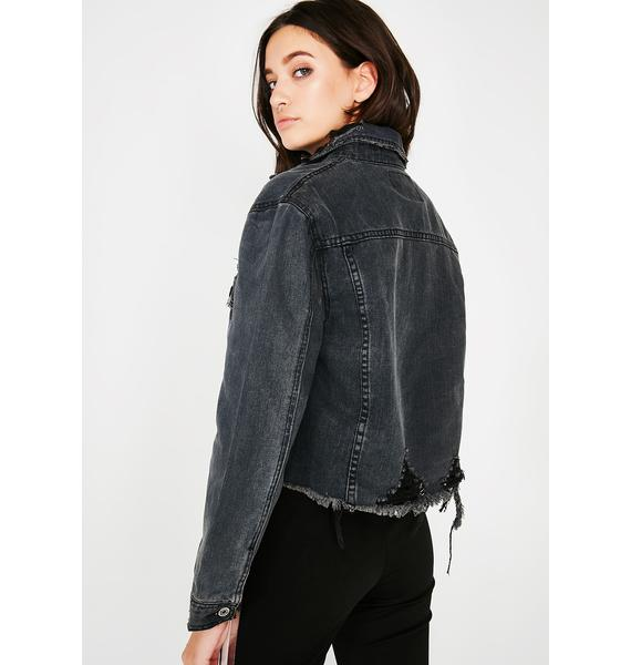 Slick Talkin' Cropped Denim Jacket