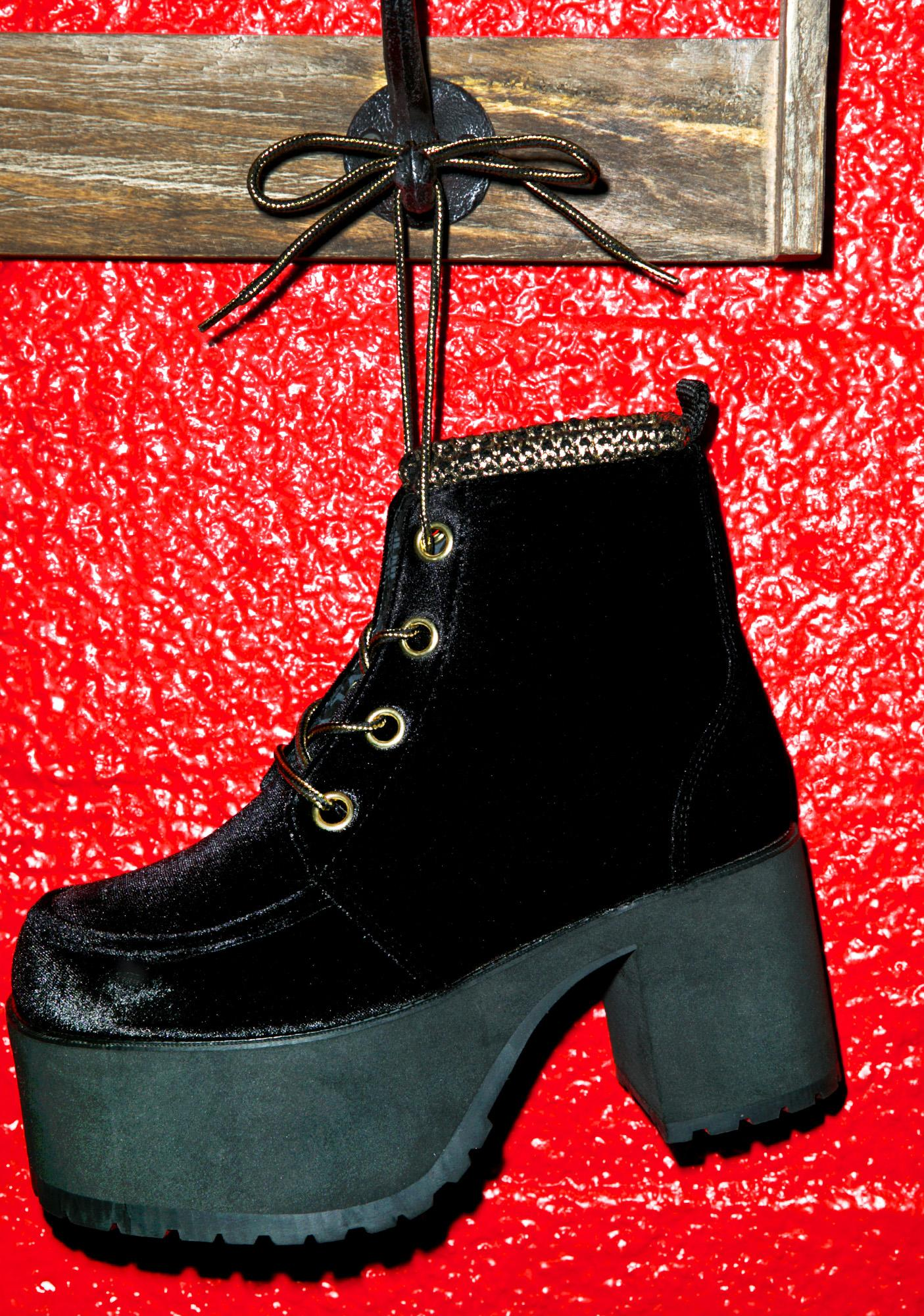 T.U.K. Velvet Lace-Up Nosebleed Boots