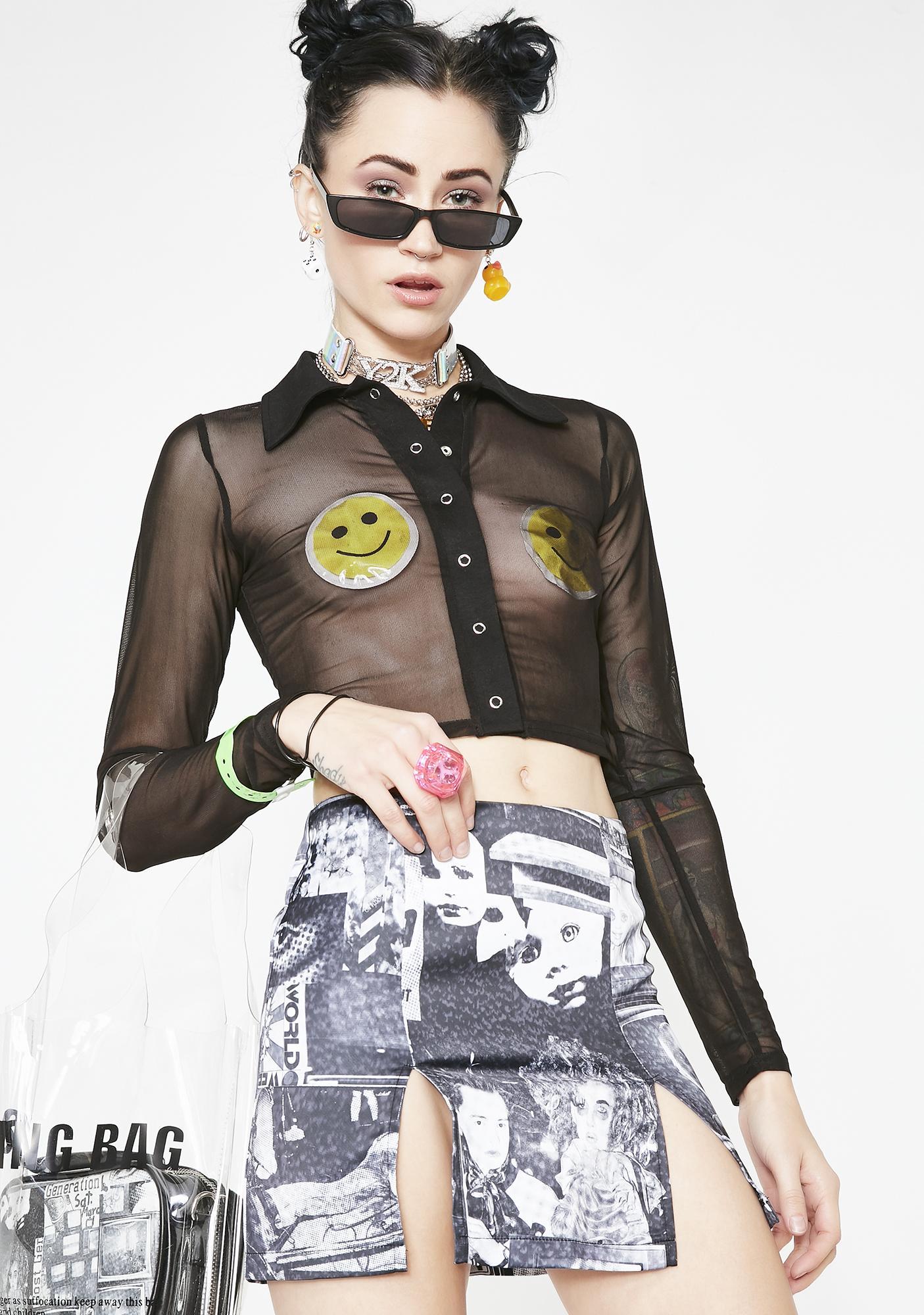 Current Mood TV Static Mini Skirt