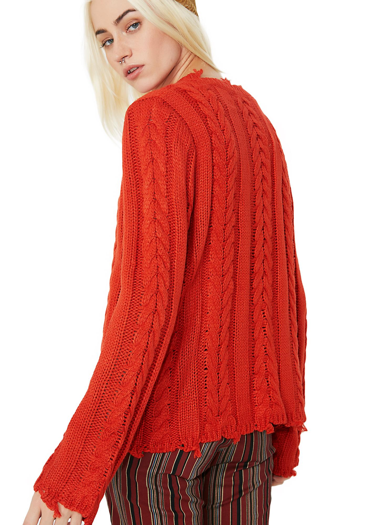 Broken Dreams Cable Knit Sweater