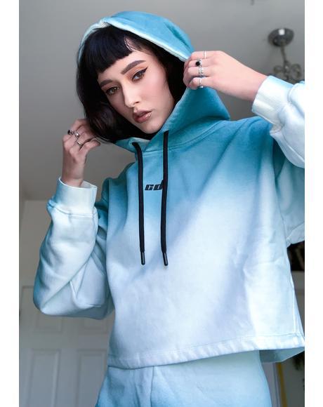 Blue Dip Dye Hoodie Sweatshirt