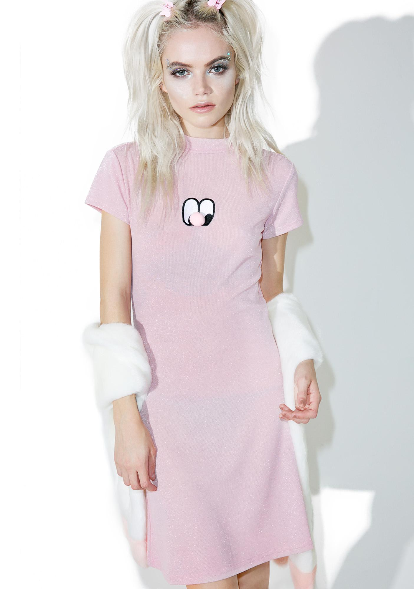0a1455b4b00a Lazy Oaf Pom Nose Sparkly Dress