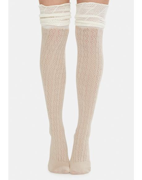 Cream Unsweet Dreams Thigh High Socks