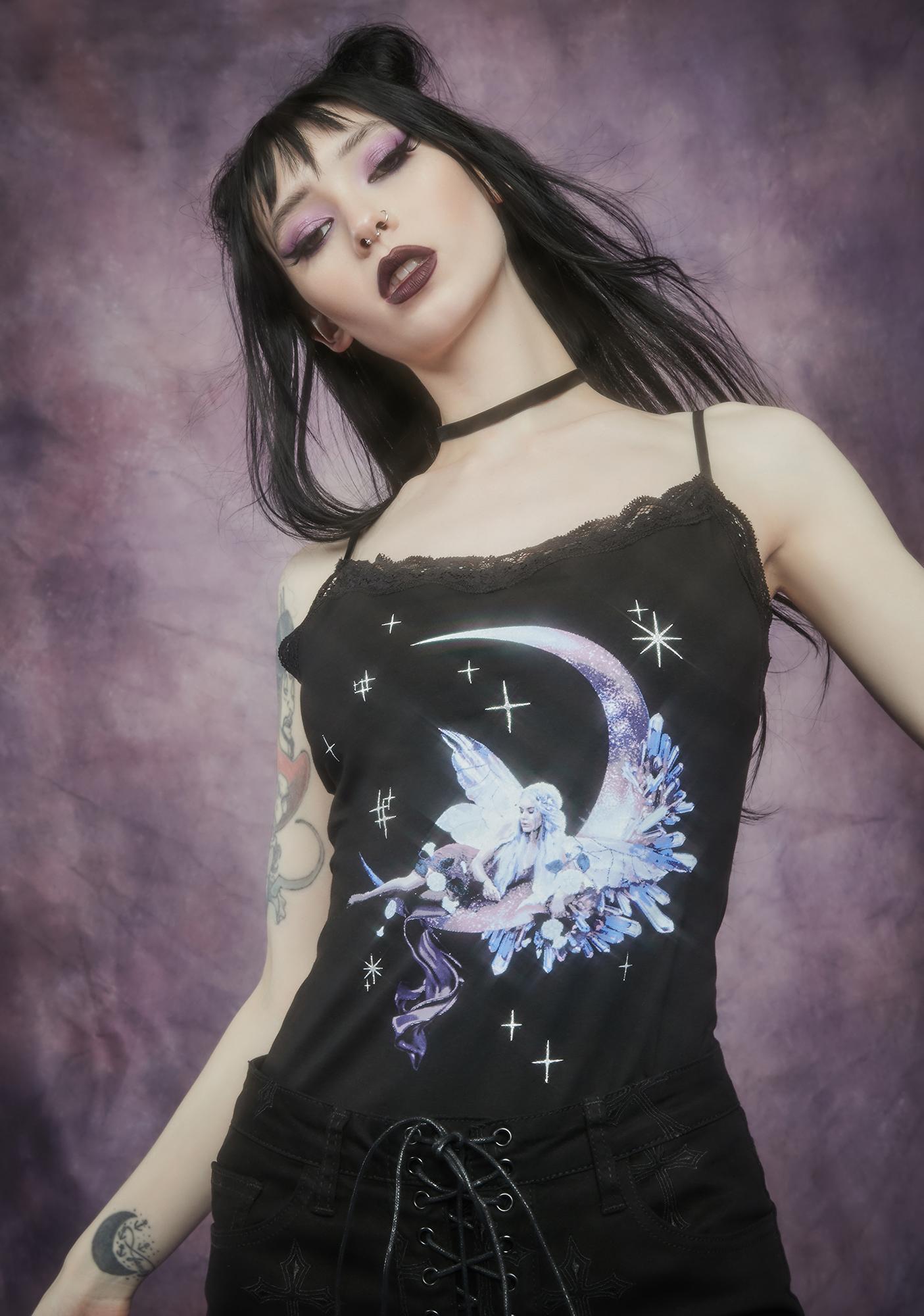 Widow Broken Wings Fairy Print Lace Cami