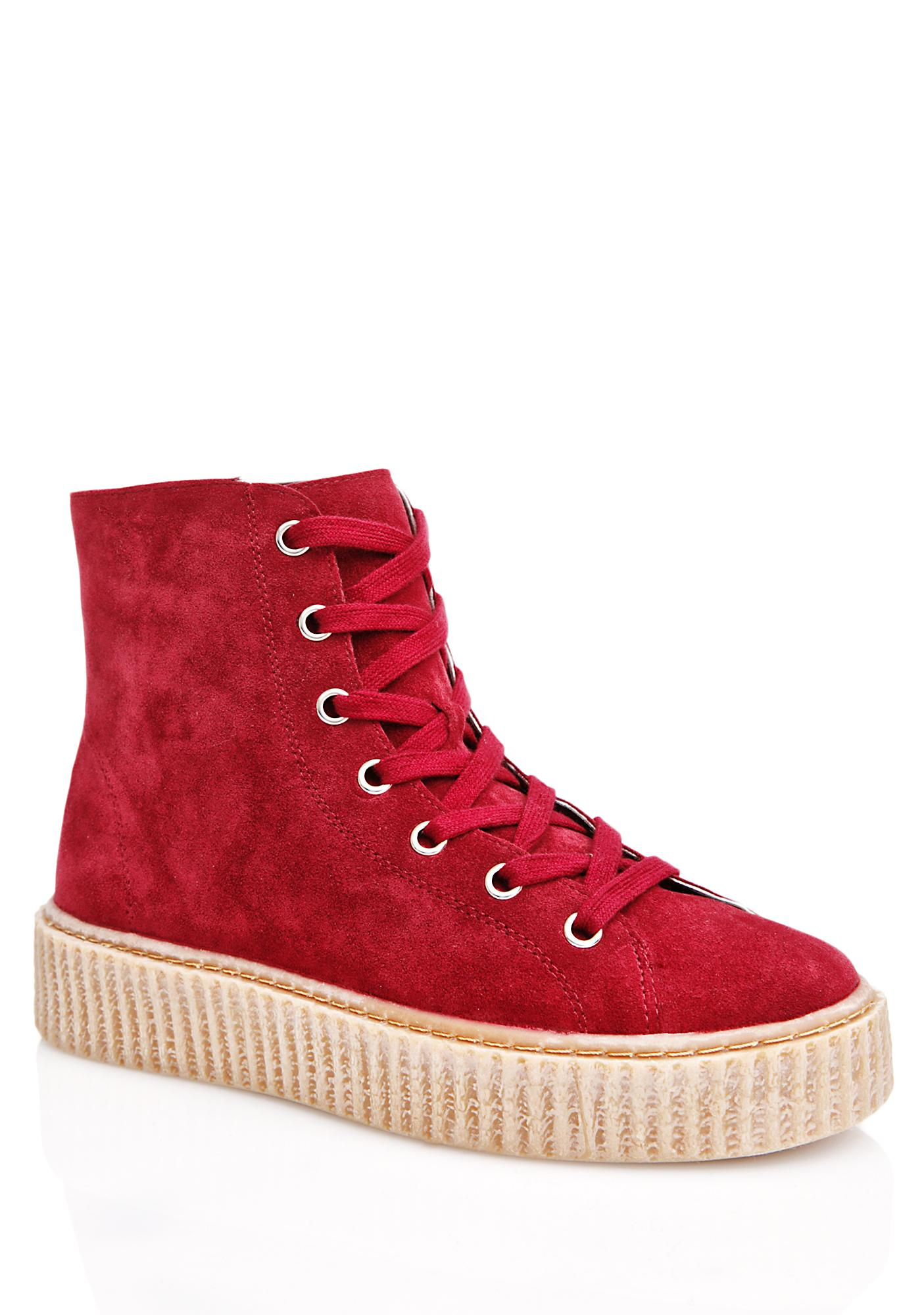 Public Desire Bordeaux Iyla Hi Top Creeper Sneakers
