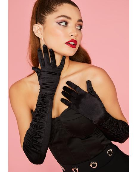 Midnight Sealed With A Kiss Ruched Gloves
