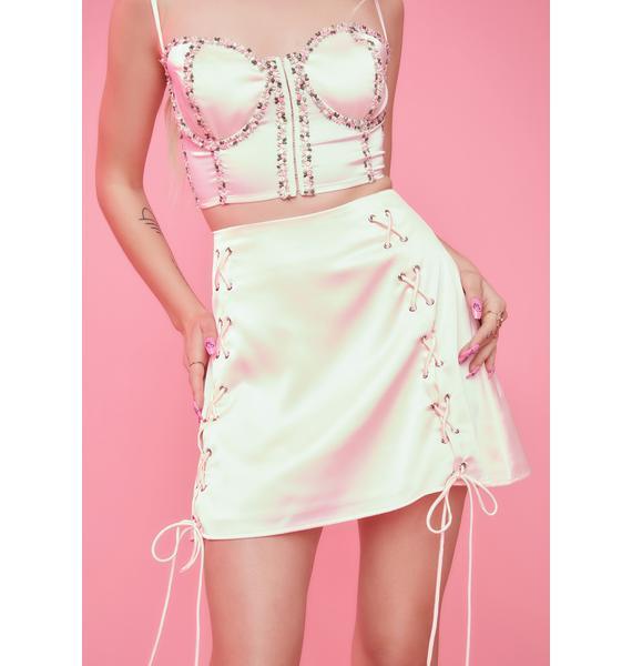 Sugar Thrillz Form Fleeting Satin Lace Up Mini Skirt