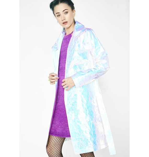Current Mood Celestial Odyssey Iridescent Trench Coat