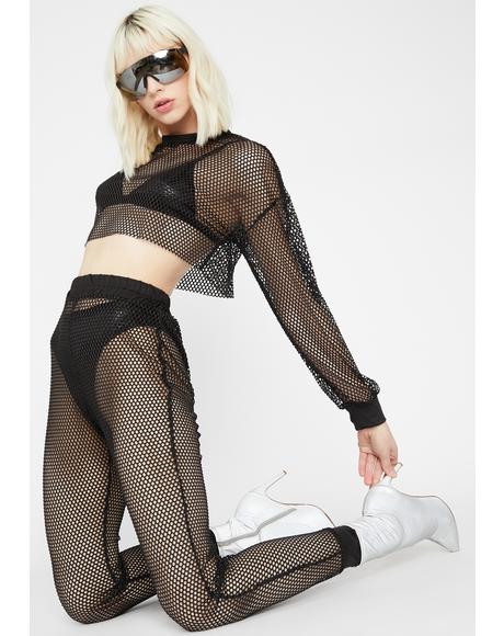 Lunar Sunburst Queen Fishnet Set