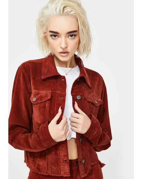 Burnt Orange Corduroy Crop Jacket