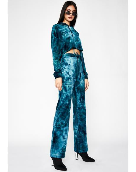 Teal Velvet Heaux Tie Dye Sweatpants