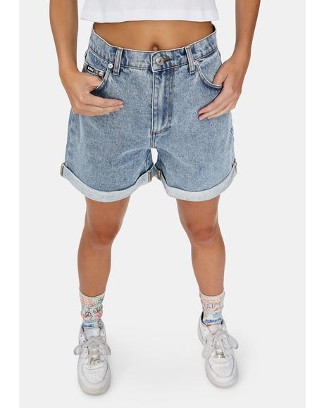 Art Pocket Denim Mom Shorts