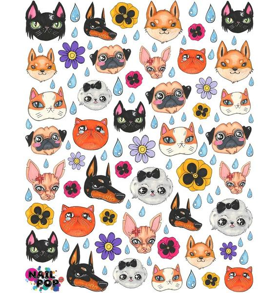 Nail Pop Cats & Dogs Water Slide Nail Decals