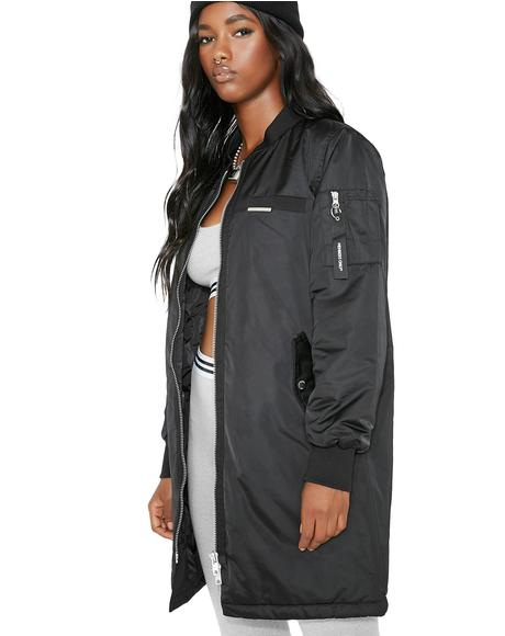Onyx Satin Long Bomber