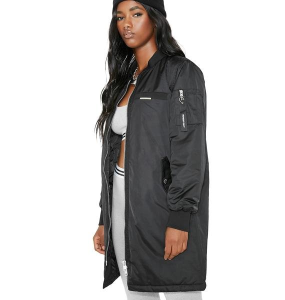 Members Only Onyx Satin Long Bomber
