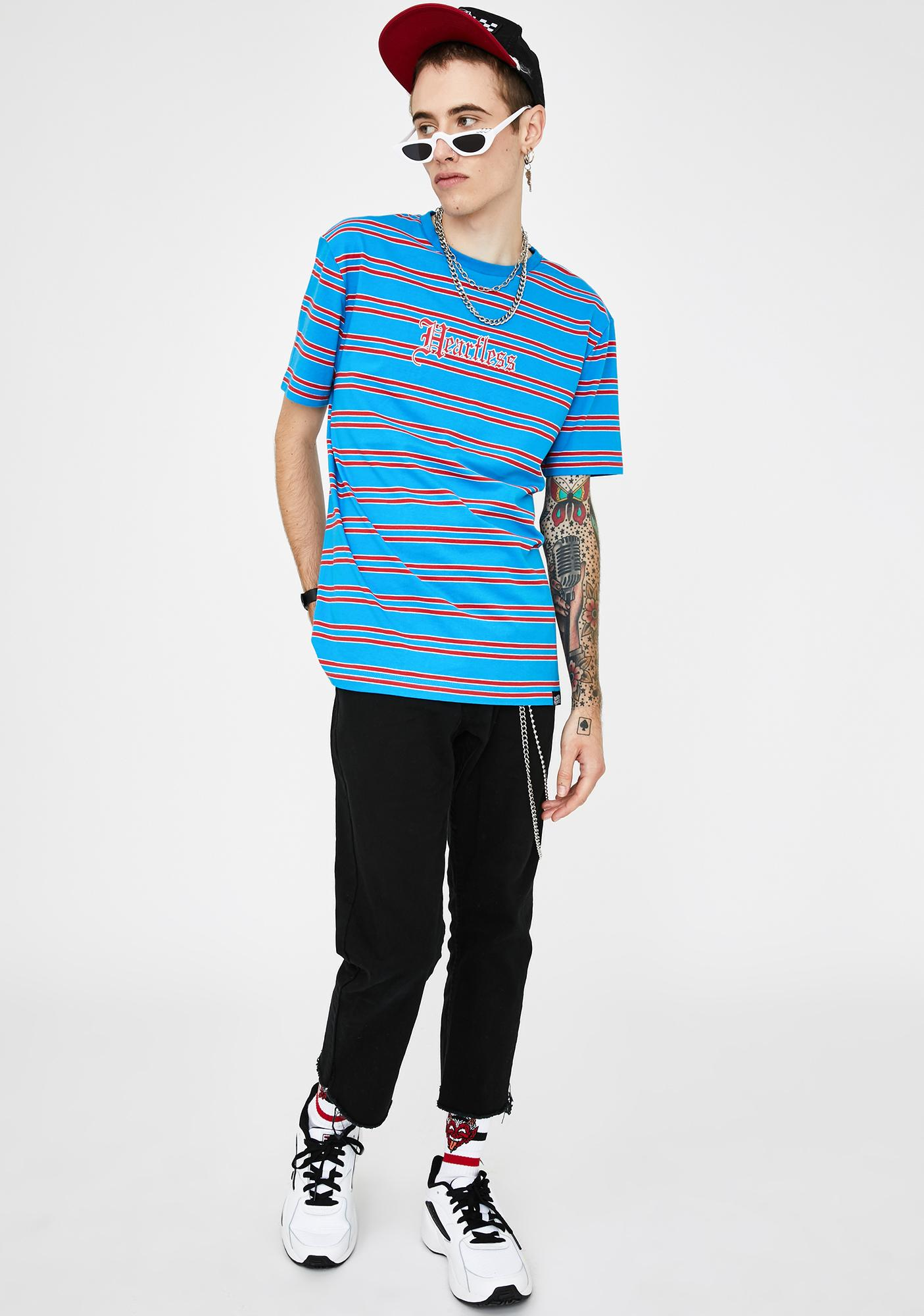 BROKEN PROMISES CO Blue Red Stripe Heartless Graphic Tee
