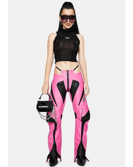 Motocross Pink Vegan Leather Panty Trousers