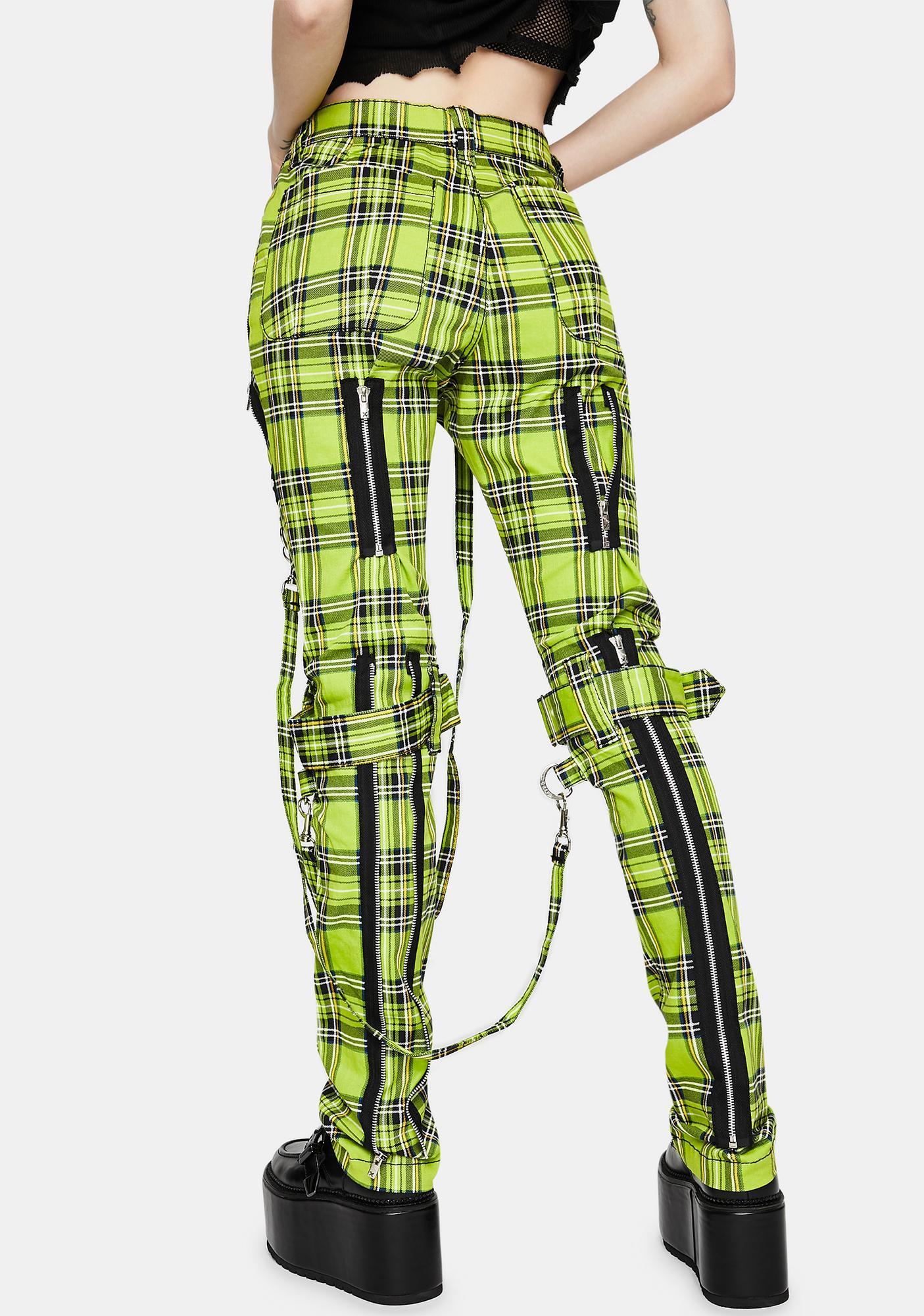 Tripp NYC Neon Lime Plaid Bondage Pants