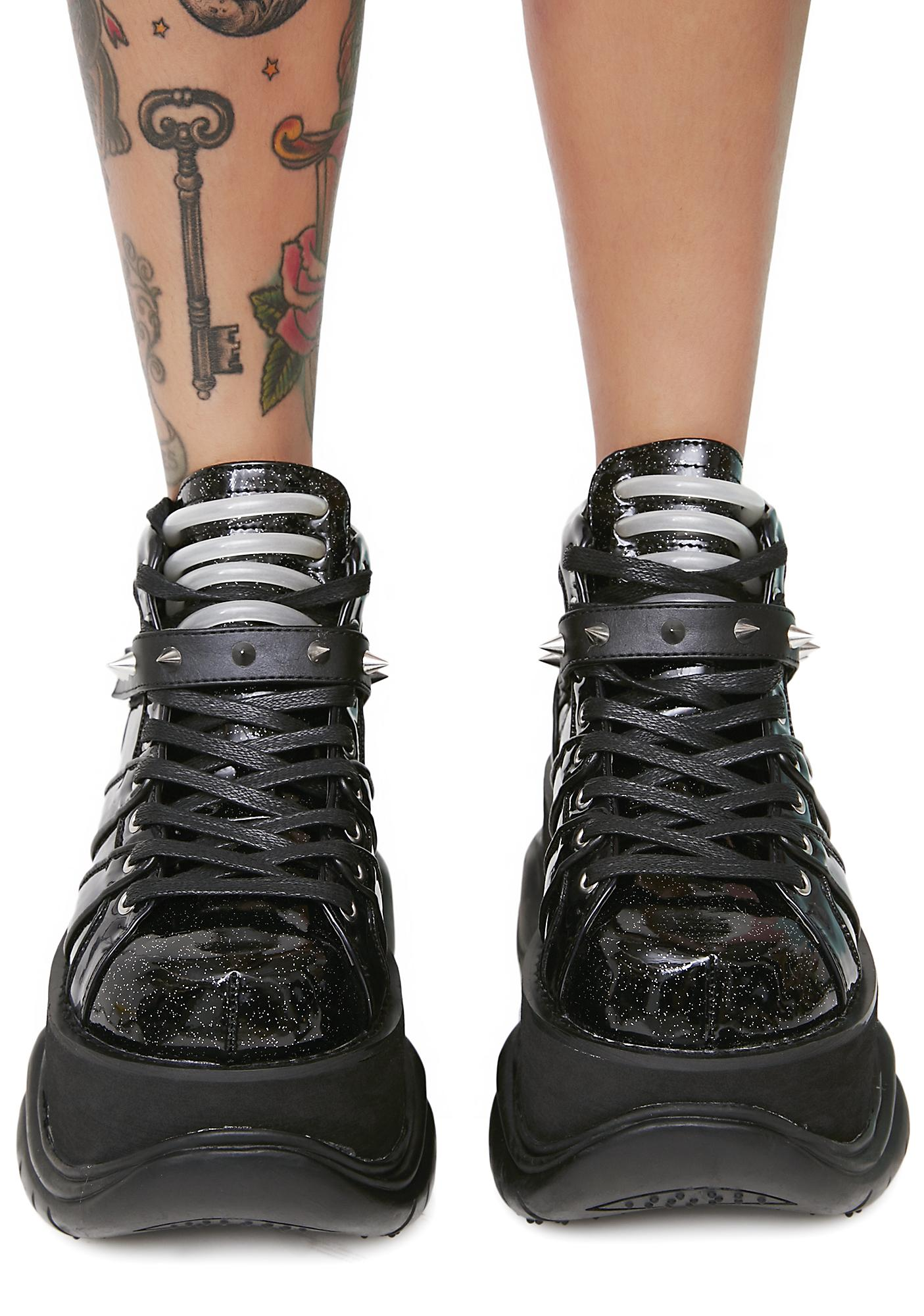 Demonia Machina UV Reactive Platform Sneakers