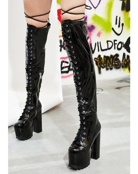 Bedlam Thigh High Lace Up Boots