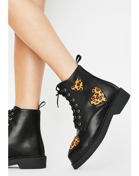 Leopard Catchin' Feels Combat Boots