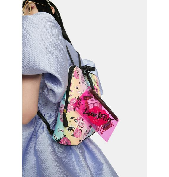 Betsey Johnson Pastel Rose Backpack With PVC Wristlet
