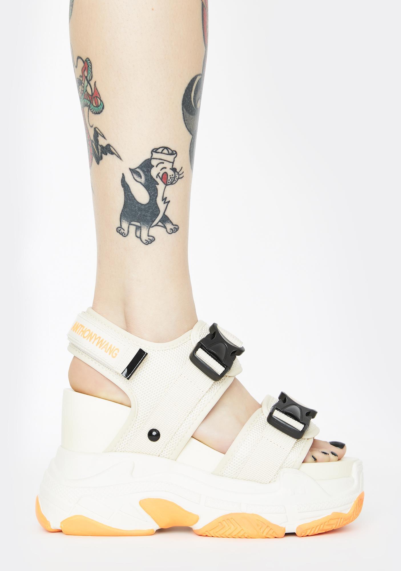 Anthony Wang Beige Peach Platform Sandals