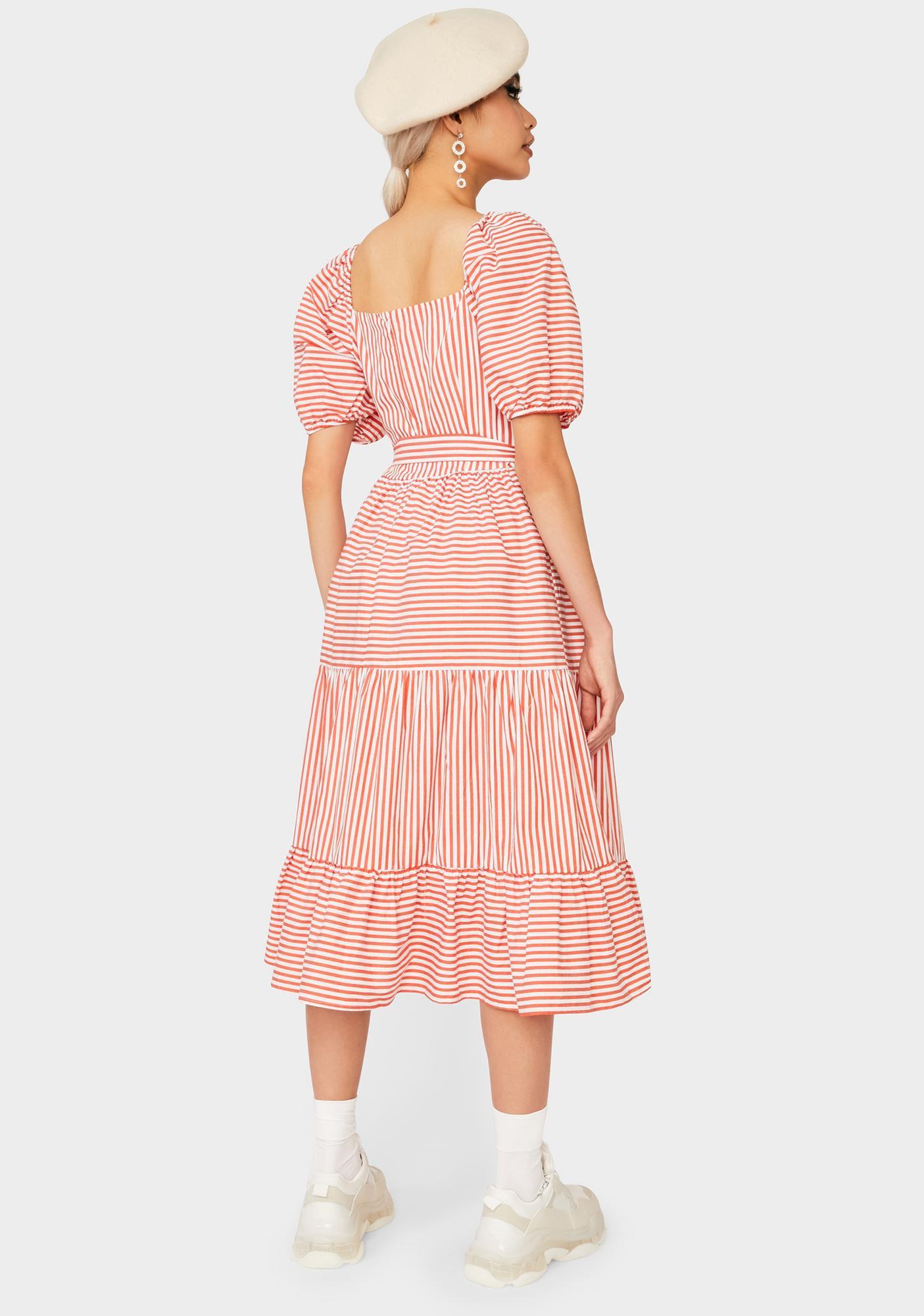 Glamorous Red Stripe Midi Dress