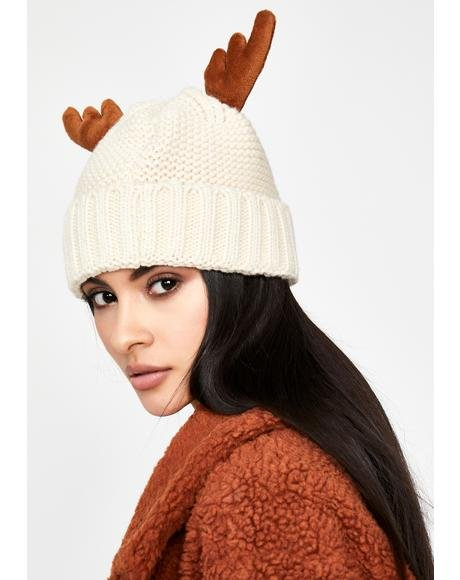 North Pole Reindeer Beanie