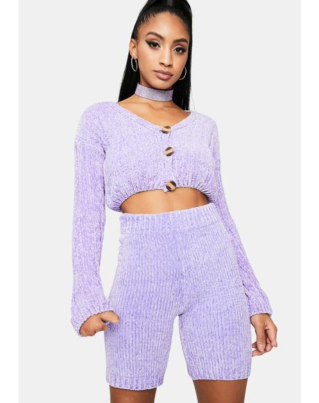 Lilac Luxe in Love Knit Biker Shorts