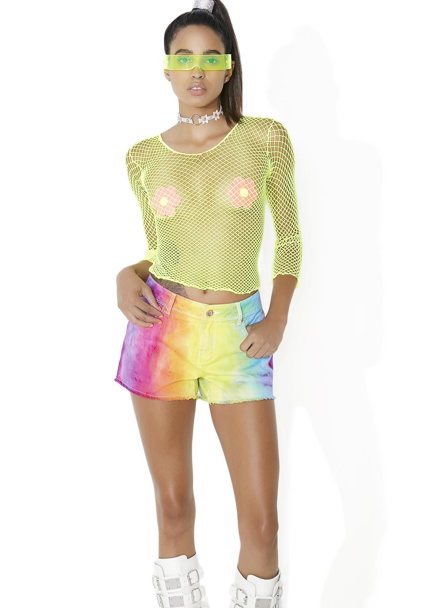 Cosmic Unicornz Rainbow Denim Shorts