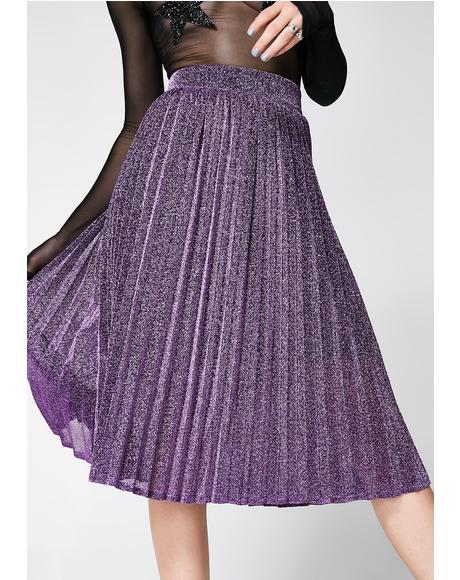 Milky Way Pleated Midi Skirt