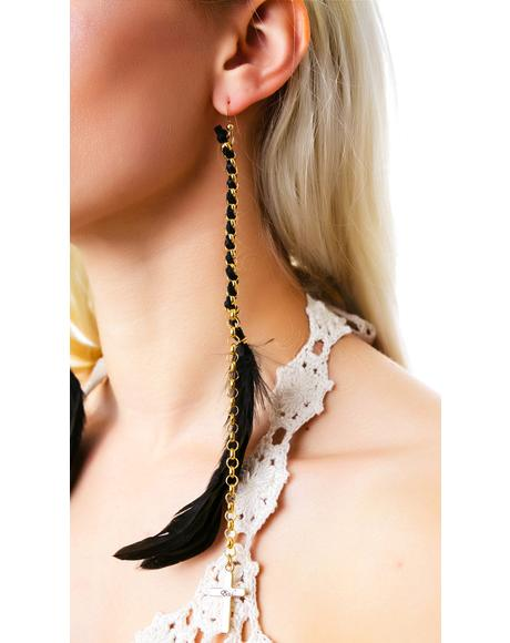Cross Pendant Charm Feather Earring