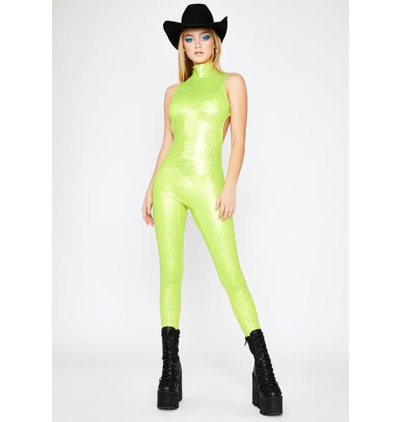Lime Pop Mania Sleeveless Catsuit