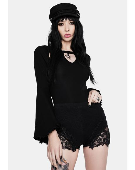 Noir Lace Trim Shorts