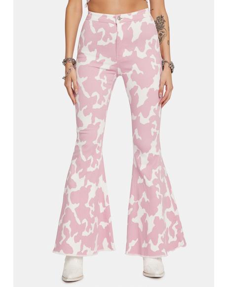 Blush Causal Cow Print Bell Bottom Pants