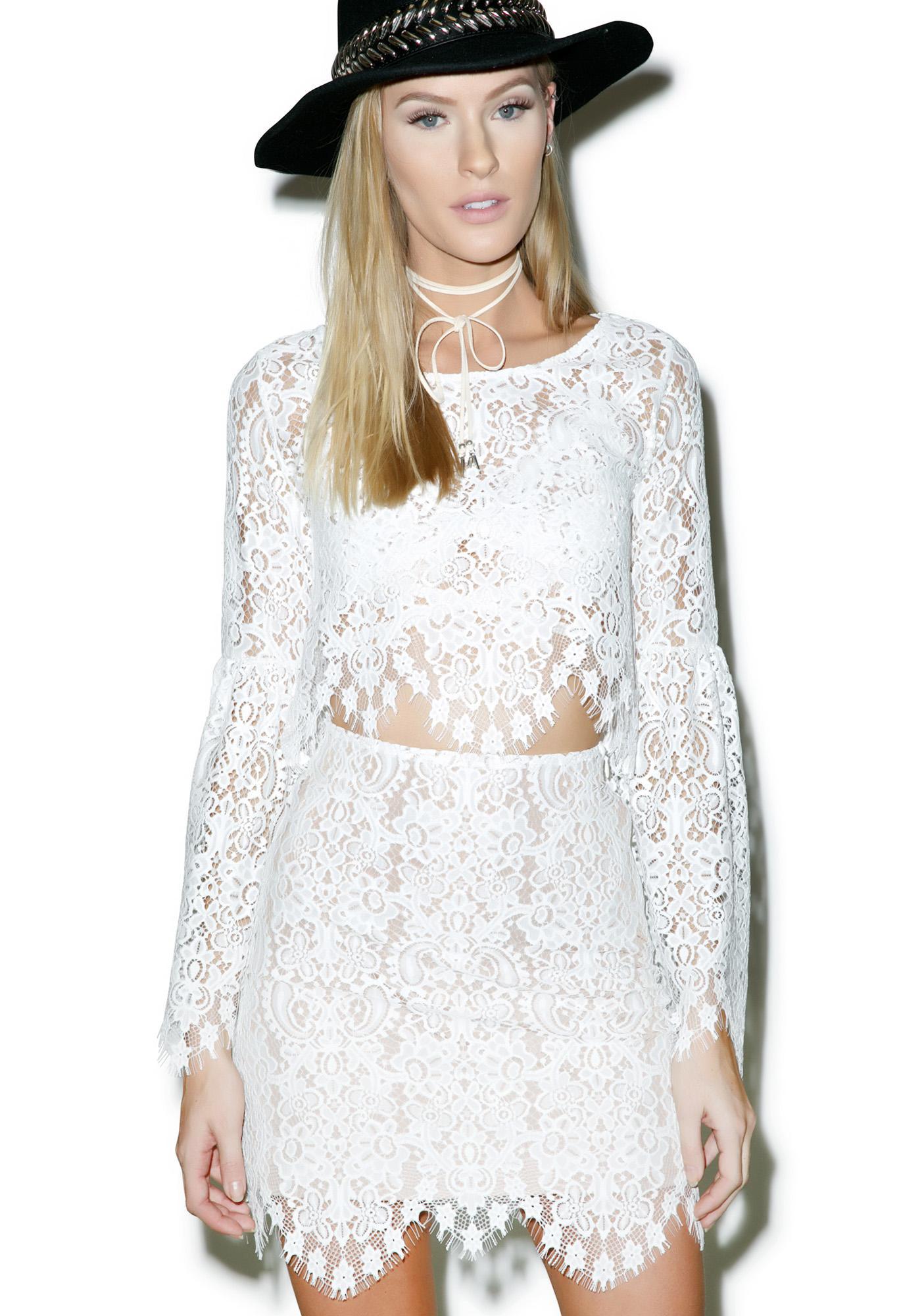 For Love & Lemons Ivory Lyla Mini Skirt