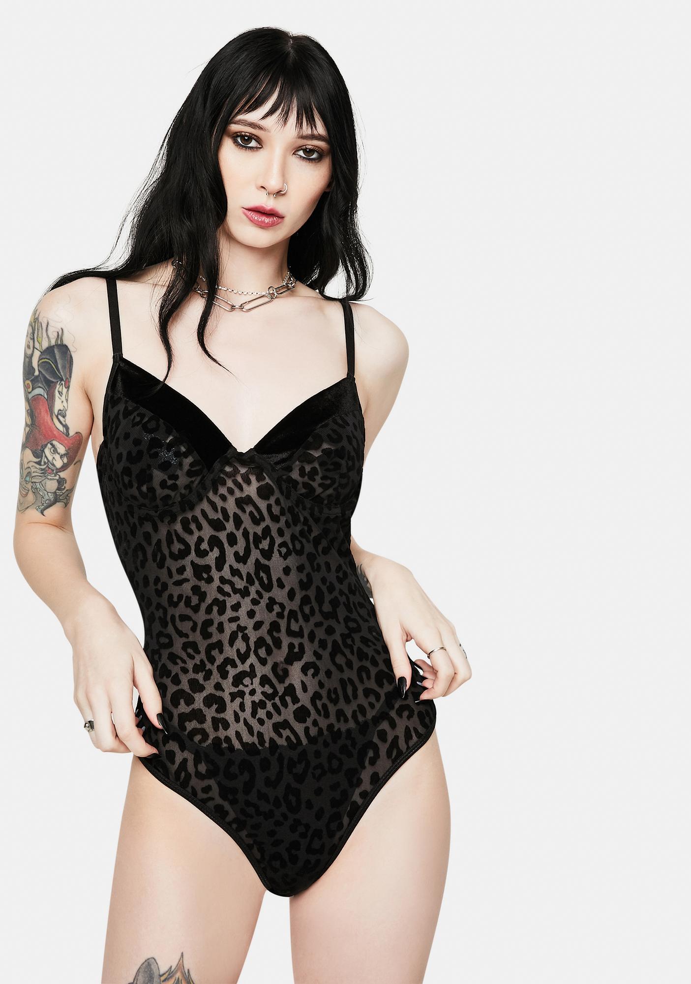 Roma Savage Sheer Velvet Leopard Teddy