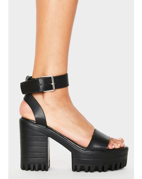 Black Avenue Platform Heels