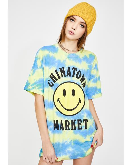Tie Dye Smiley Graphic Tee