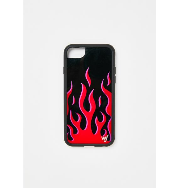 Wildflower Red Flames iPhone Case