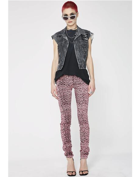 Pink Cheetah T-Back Jeans