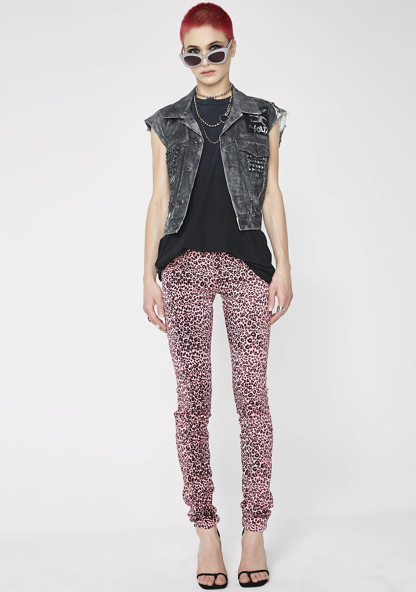 Tripp NYC Pink Cheetah T-Back Jeans