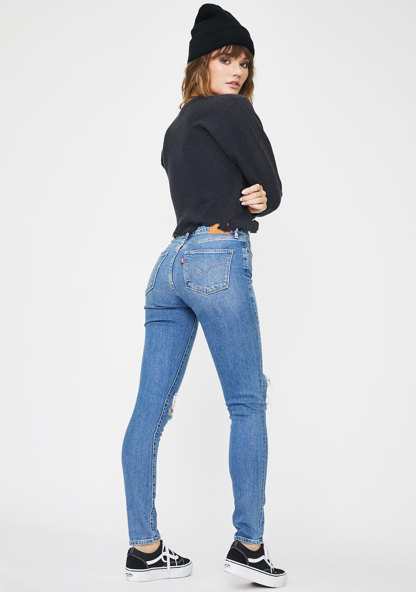 Levis Rugged Indigo 721 High Rise Skinny Jeans