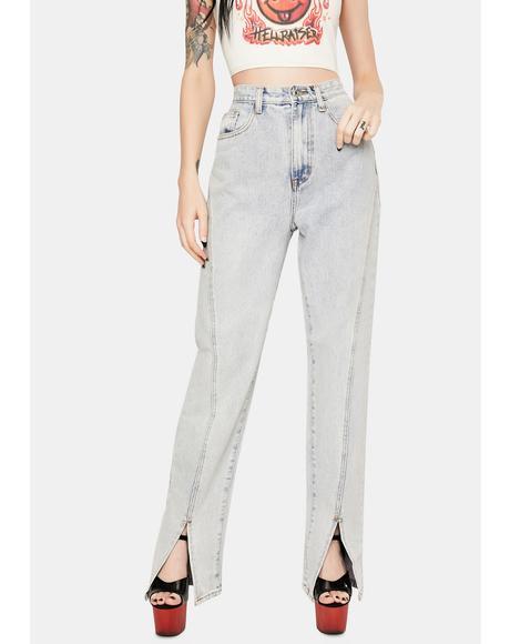 Light Vintage Wash Split Front Baggy Jeans