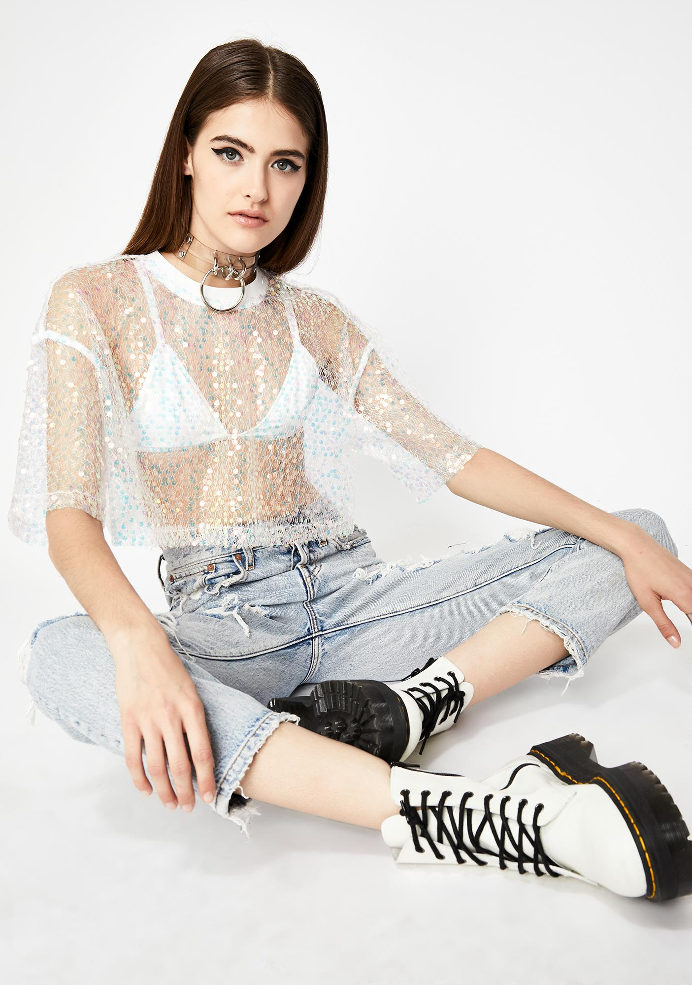 Frosted Techno Mood Sequin Top