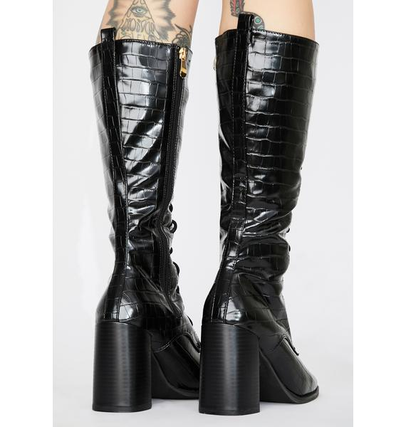 Sinful Loveless Mystery Lace Up Boots